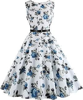 Vintage 1950's Floral Spring Garden Party Dress Cocktail Dress with Belt