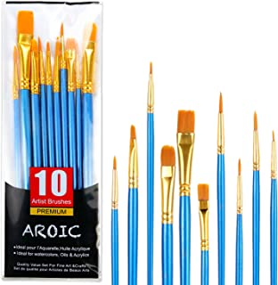 Acrylic Paint Brush Set, 1 Packs / 10 pcs Nylon Hair Brushes for All Purpose Oil Watercolor Painting Artist Professional Kits