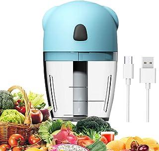 Mini picadora eléctrica, 260 ml, pequeña picadora de 3,7 V portátil, mini batidora con 3 cuchillas trituradoras, USB recargable, para frutas, zanahoria, carne, alimentos para bebés