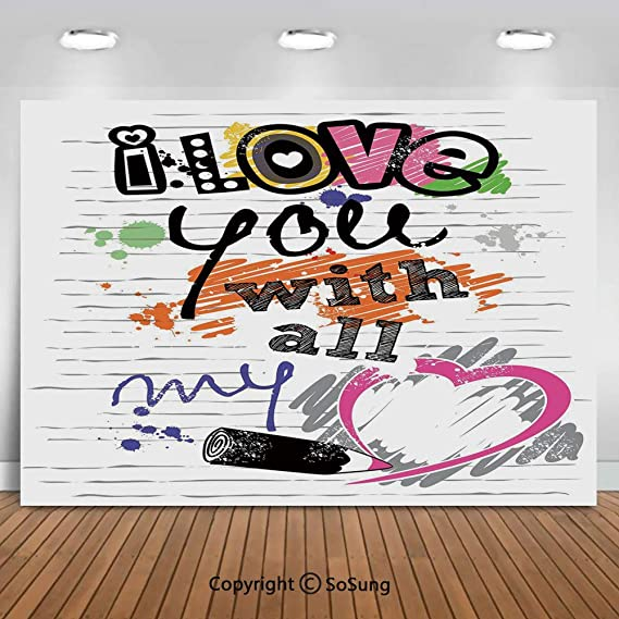 Quote 15x10 FT Vinyl Photo Backdrops,Love is in The Air Phrase for Romantic Couples on Pink and Blue Backdrop Background for Child Baby Shower Photo Studio Prop Photobooth Photoshoot