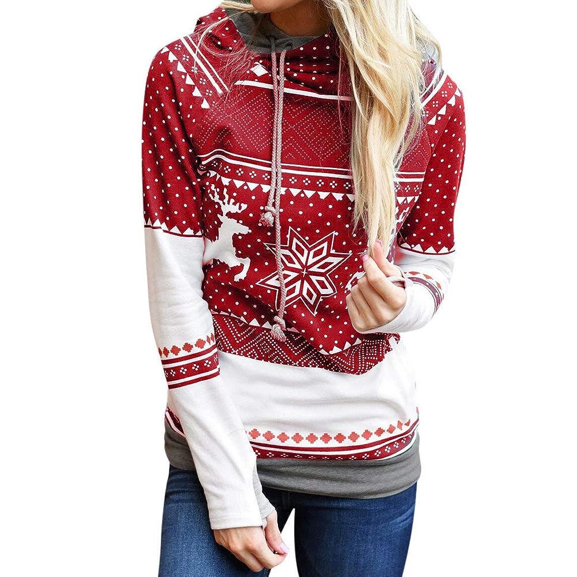 Franterd Xmas Blouse Women Christmas Dots Elk Snowflake Print Caps Drawstring Hooded Sweatshirt Pullover
