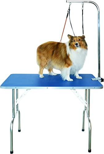 SHELANDY Professional pet Grooming Table with Double leashes and clamp for Large and Medium Dogs (Medium)
