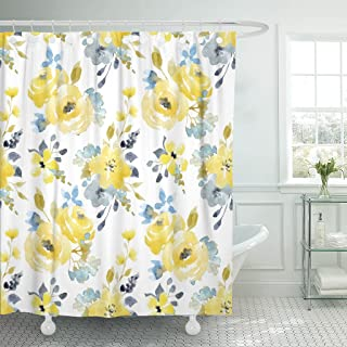 Emvency Shower Curtain Black Floral Watercolor Bright Summer Pattern Yellow and Blue Abstract Flowers Gray Simple Botanical Waterproof Polyester Fabric 72 x 72 inches Set with Hooks