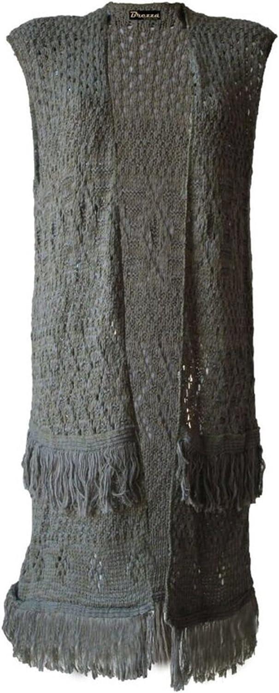 Girls Walk Womens Sleeveless Knitted Boyfriend Frill Crochet Cardigan