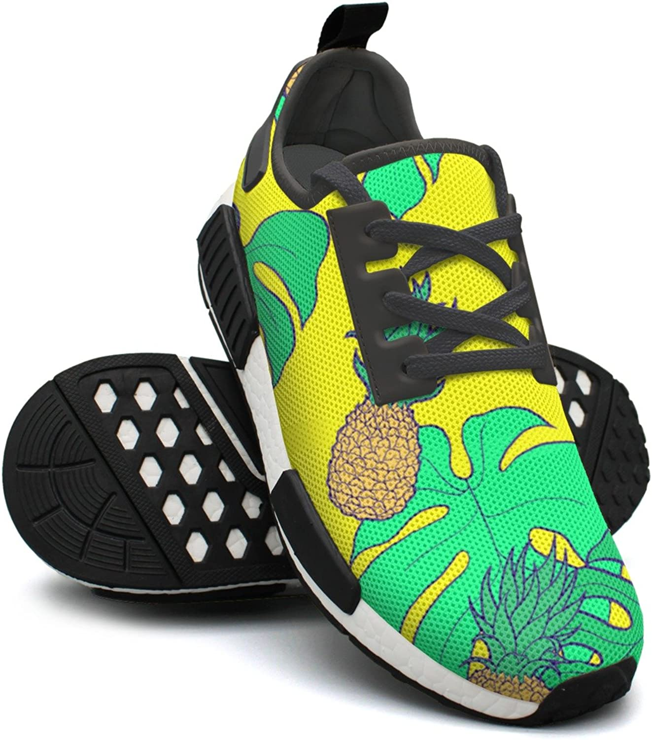 Yellow Beach Pineapple and Palm Leaves Women's Casual Lightweight Sneaker Gym Outdoor Running shoes