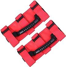 Black 2PCS TJ JK JL Rubicon CJ ZGBADMAN Roll Bar Grab Handles Grip Handle for Jeep Wrangler Sahara