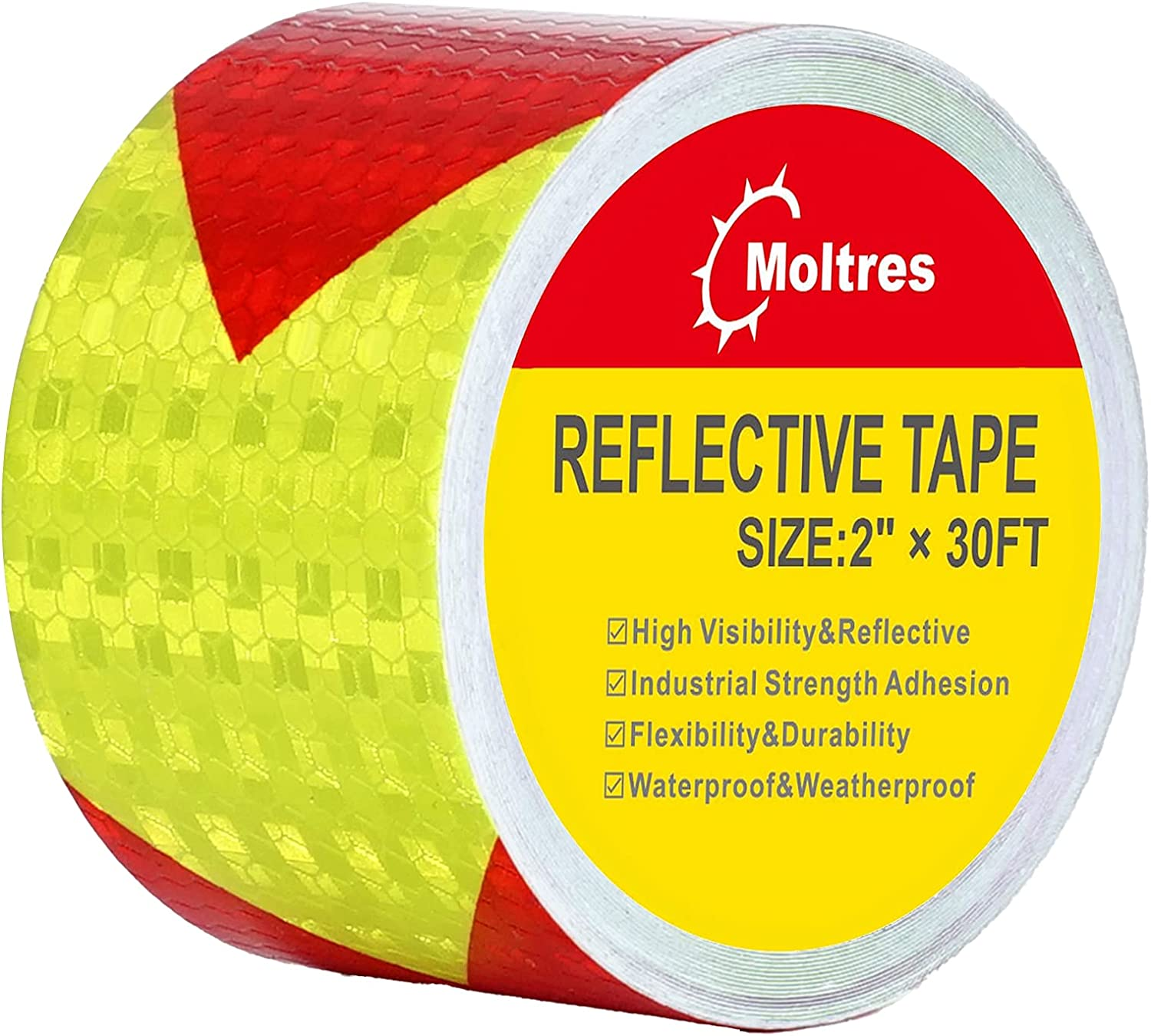 Moltres Waterproof Reflective Tape,Red Yellow 2 InchX30 Feet Con
