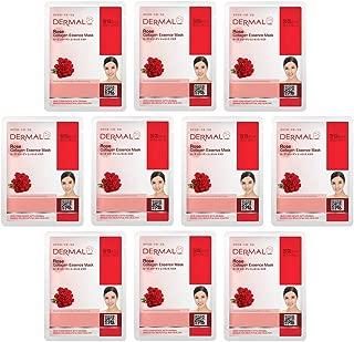 DERMAL Rose Collagen Essence Facial Mask Sheet 23g Pack of 10