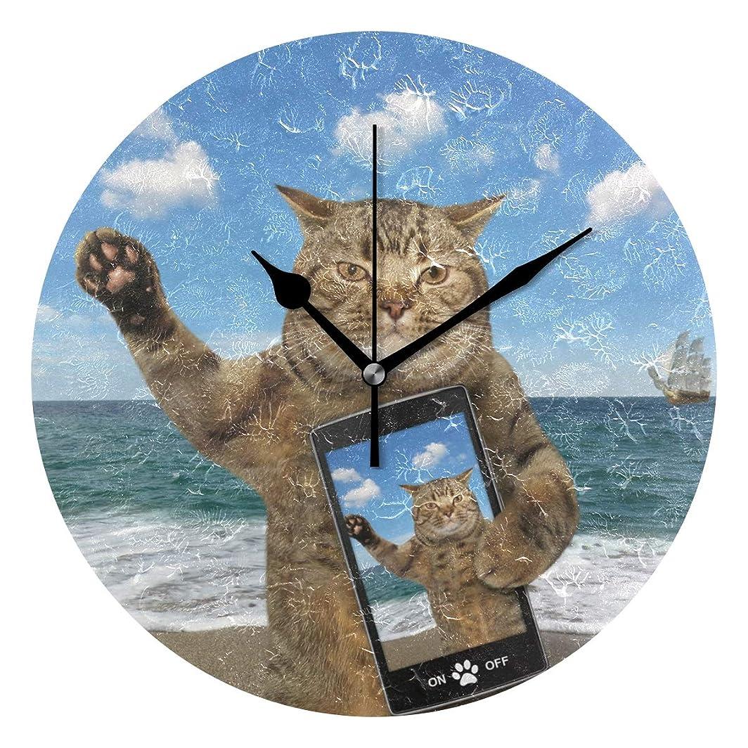 人生を作るオート追い払うVAWA 掛け時計置き時計おしゃれ北欧時計壁掛け連続秒針リビング部屋装飾贈り物猫柄星柄星空柄クジラ柄海豚柄柴犬柄和柄和風(猫柄2)