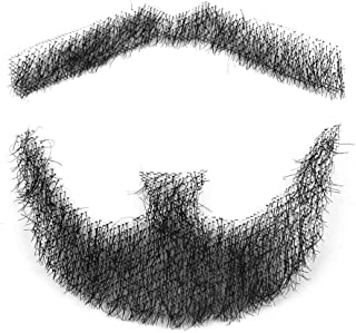 100% Human Hair Fake Men's Man Beard Makeup Mustache for Costume and Party Cosplay (Black)