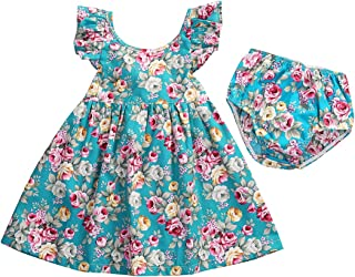honeys Baby Girls 2pcs Clothes Skirt Set Lotus Leaf Collar Ruffled Floral Dress+Bottom