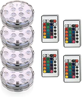 LRIFUE 4PC Submersible LED Lights 3AAA Battery 10LED Remote Controlled RGD Multi Color Fountains Light-Halloween Christmas Lights Aquarium Pond Party Wedding Vase Base Holiday Lighting