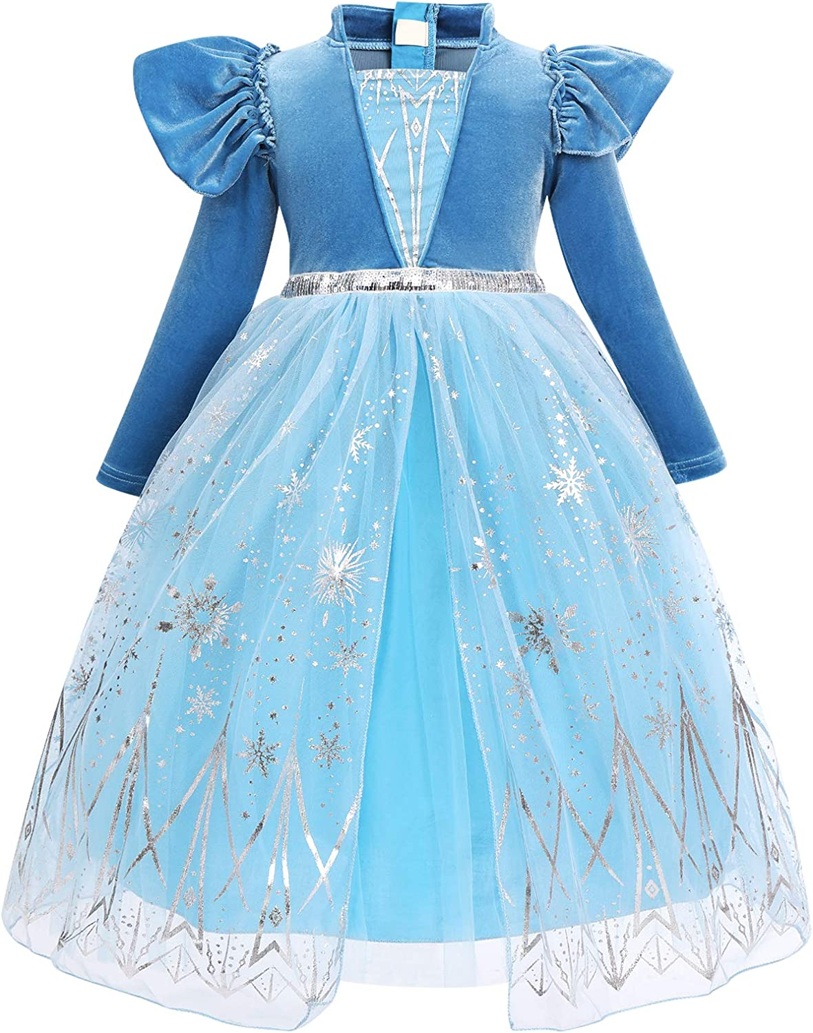 FYMNSI Girls Elsa Anna Costume Dress Party Outfit Fancy Dress Up Snow Queen Princess Halloween Carnival Cosplay Dress for 2-11 Years