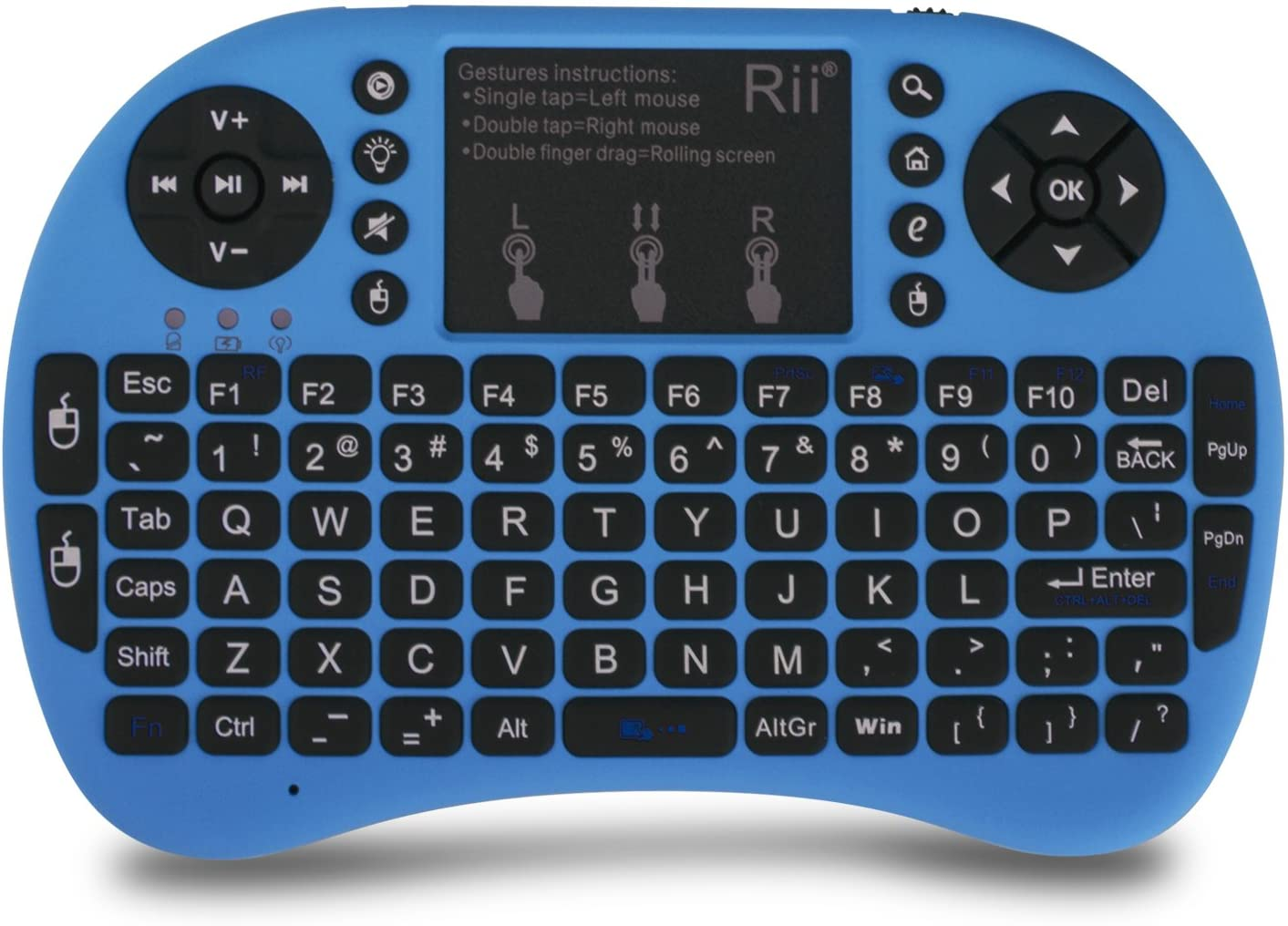 (Upgraded) Rii 2.4GHz Mini Wireless Keyboard with Touchpad&QWERTY Keyboard, Backlit Portable Keyboard Wireless with Remote Control for Laptop/PC/Notebooks/Windows/Mac/TV/Xbox/PS3.(i8+ Blue)