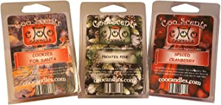 Coo Candles 3 Pack Sampler of Soy Wickless Candle Bar Wax Melts - Christmas Holiday Scents (3)