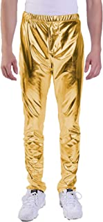 Mens Metallic Shiny Leggings Wetlook Long Tights Pants Jeans Straight Leg Trousers