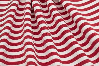 Fabric Merchants Ponte De Roma Stripe Fabric by The Yard, Red/White 3 Yards