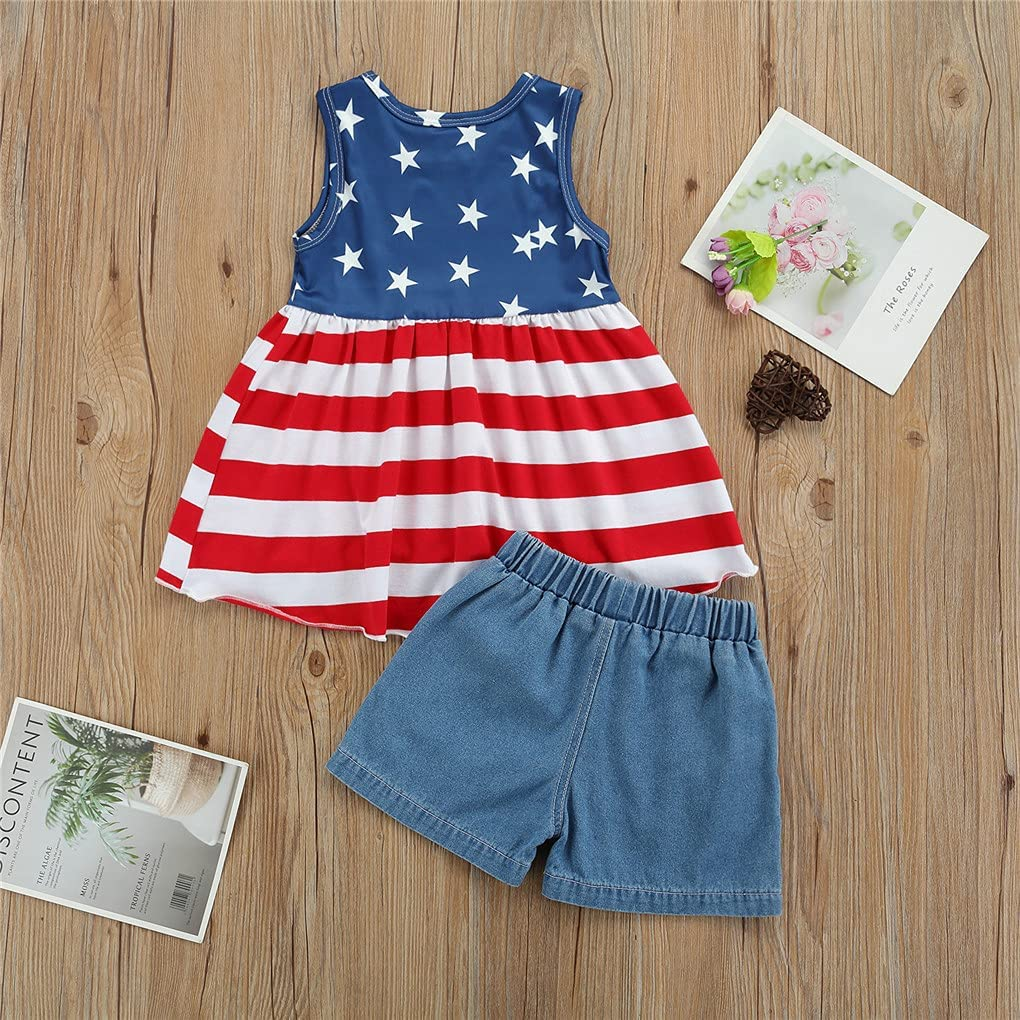 Toddler Baby Boys Girls Outfit,American Flag T-Shirt Top+Striped/Denim Shorts Clothes Set