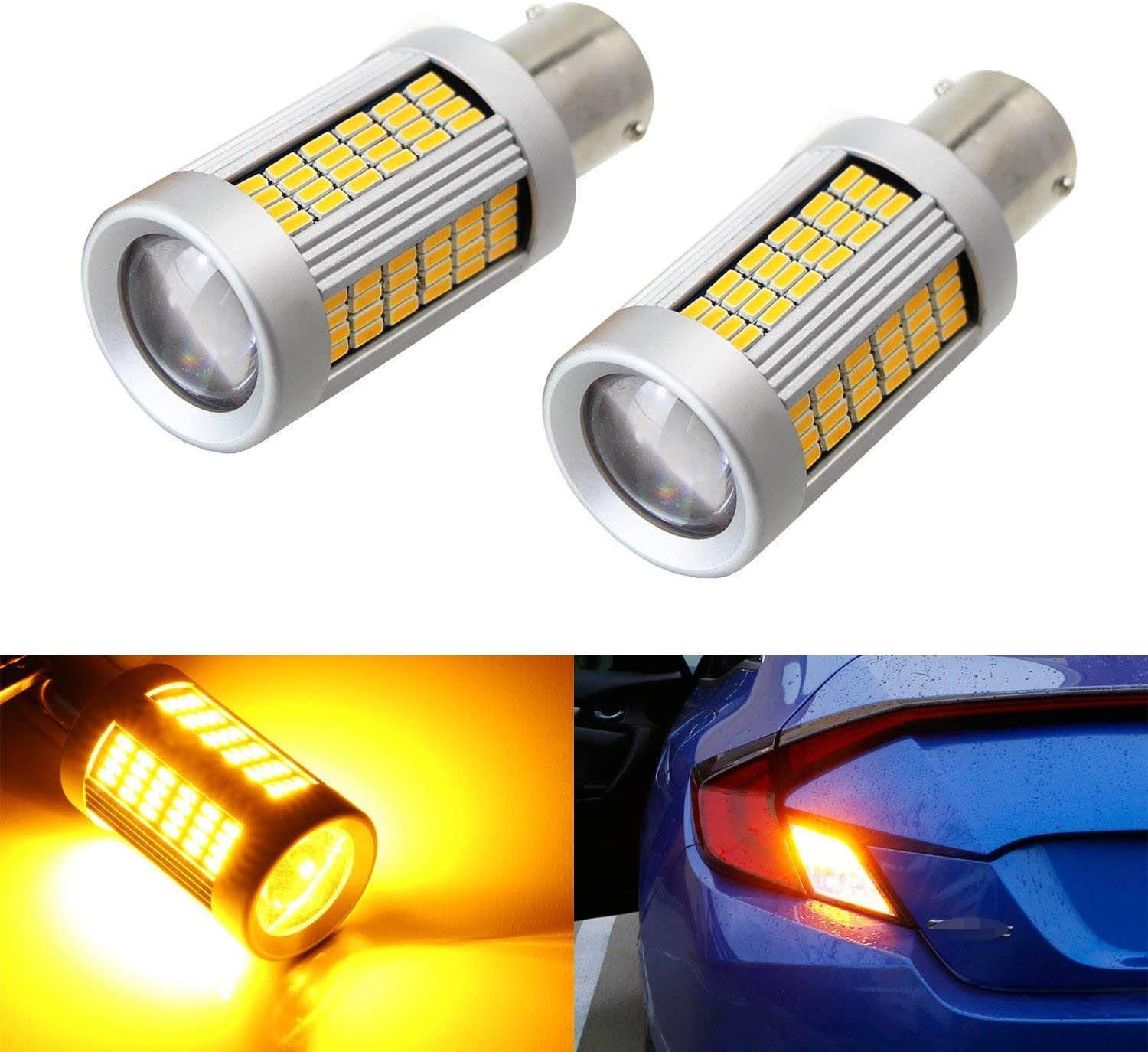 iJDMTOY 2 No Hyper Flash 25W Credence High 1156 CAN-bus Power Amber Spring new work LED