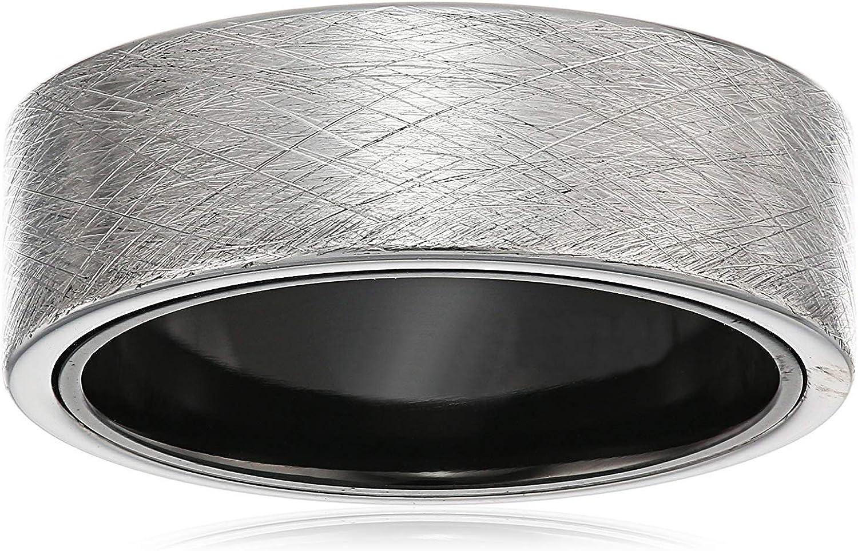 Men's 8mm Sapphire Tungsten and Titanium Crosshatch Etched Matte Exterior with Black Interior Wedding Ring Band