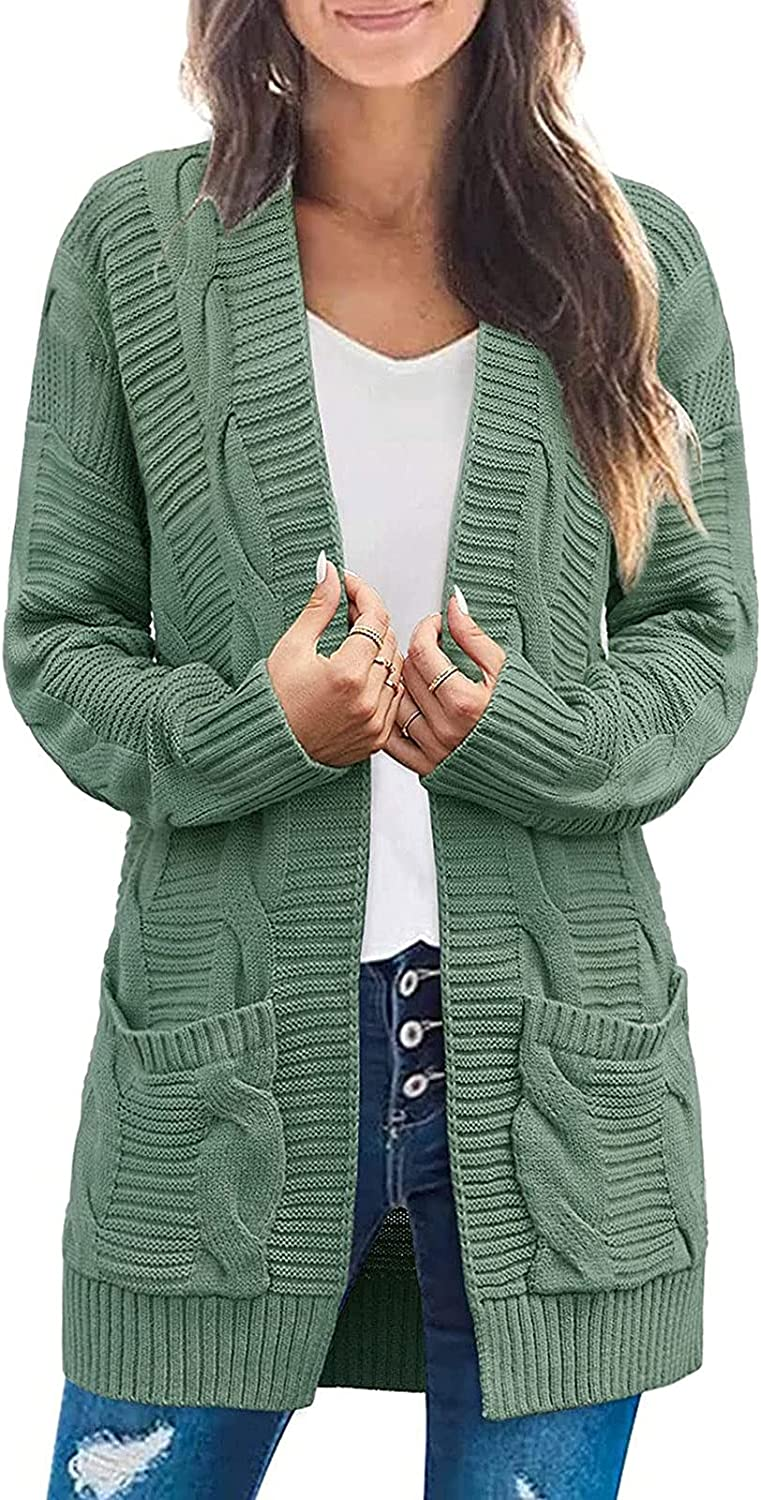 Womens Cable Knit Cardigan Long Sleeve Sweaters Solid Lightweight Coat Open Front Slim Basic Outerwear with Pockets