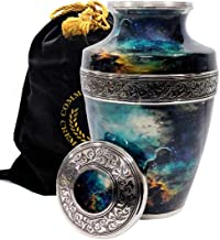 Cosmic Galaxy Universe Cremation Urns for Adult Ashes for Funeral, Niche or Columbarium, 100% Brass, Cremation Urns for Hu...