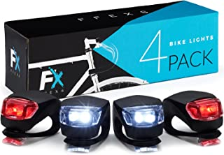 Bike Light Set Front and Back - Bright & Super Easy to Install - Bright Bicycle Lights Front Rear Waterproof Silicone - Cycling Lights for Mountain Roads Night Cycling - Brighter Than Helmet Lights