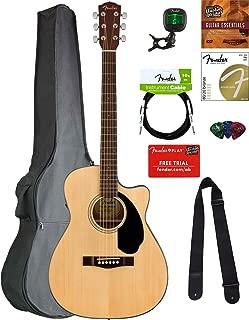 Fender CC-60SCE Concert Acoustic-Electric Guitar - Natural Bundle with Gig Bag, Tuner, Strap, Strings, Picks, Austin Bazaar Instructional DVD, and Polishing Cloth