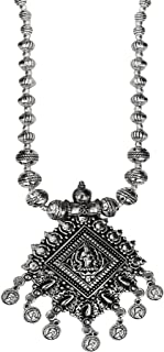 AyA Fashion Silver Oxidised German Silver Temple Necklace for Women