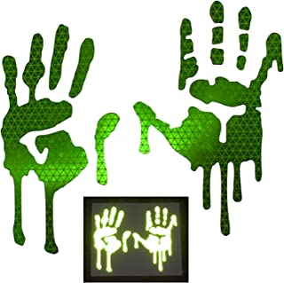 customTAYLOR33 High Intensity Grade Reflective Bloody/Dripping Hands Decals for Helmets, Windscreens, Rear Windows, Bumper Stickers (7 inches height, Lime Green)