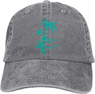 a3c8313b Mens Womens Baseball Cap Hat Hawaiian Palm Tree and Sea Turtle Adjustable  Jean Cabbie Cap for