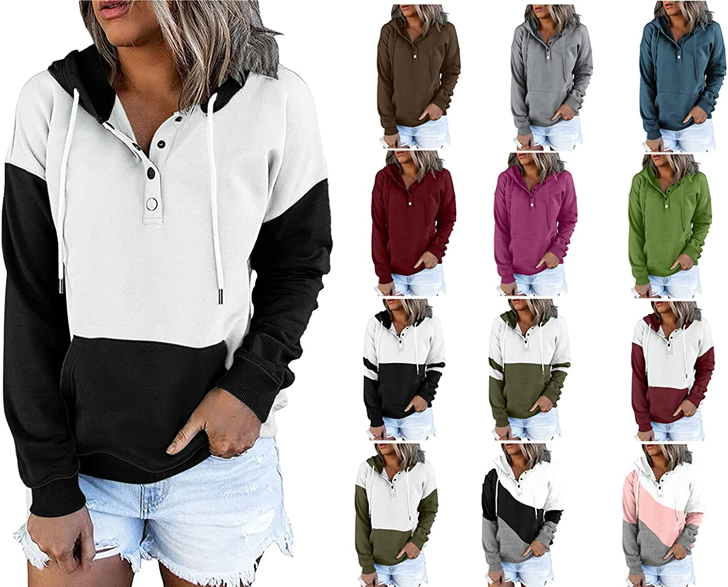 Women's Button Down Long Sleeve V-Neck Pullover Hoodies Tops Comfortable Blouse