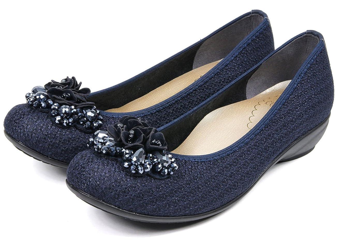 ペルメル好き水[セレブル] ファーストコンタクト FIRST CONTACT 日本製 パンプス レディース 歩きやすい ぺたんこ ビジュー 疲れない 靴
