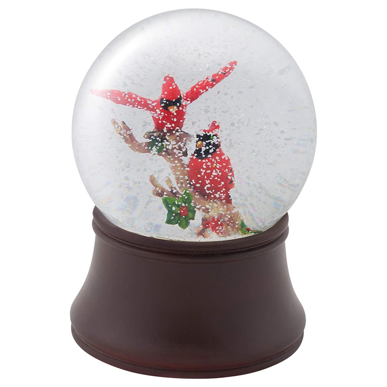 Elanze Designs Red Cardinal Friends Musical Figurine 120MM Water Globe Plays Tune Wish You A Merry Christmas
