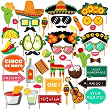 SurBepo Mexican Fiesta Party Supplies, Fiesta Photo Booth Props,Selfie Props for Southwestern Party,Carnival Party,Wedding,Birthday Party,Baby Shower, Cinco De Mayo Party Decorations 44pcs