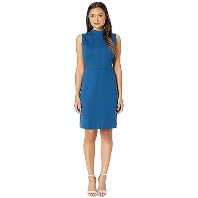 Ellen Tracy Sleeveless Mock Neck Dress (Poseidon Blue) Women