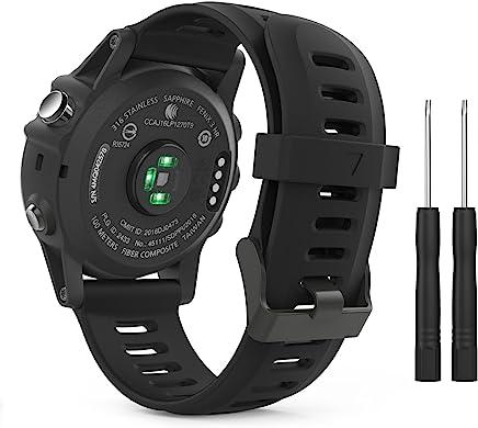 MoKo Pulsera Compatible con Garmin Fenix 3/Fenix 3 HR/Fenix 5X/5X Plus/D2 Delta PX, Correa Pulsera de Silicona Respirable y Reemplazable, Banda de Reloj Deportivo con Cierre - Negro