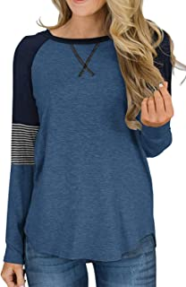QACOHU Womens Color Block Long Sleeve Loose Fit Tunics Shirts Pullover Sweatshirt Tops
