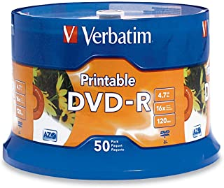 Data Storing Verbatim DVD-R 4.7GB White Inkjet DVDs 50 Pack, (70385)
