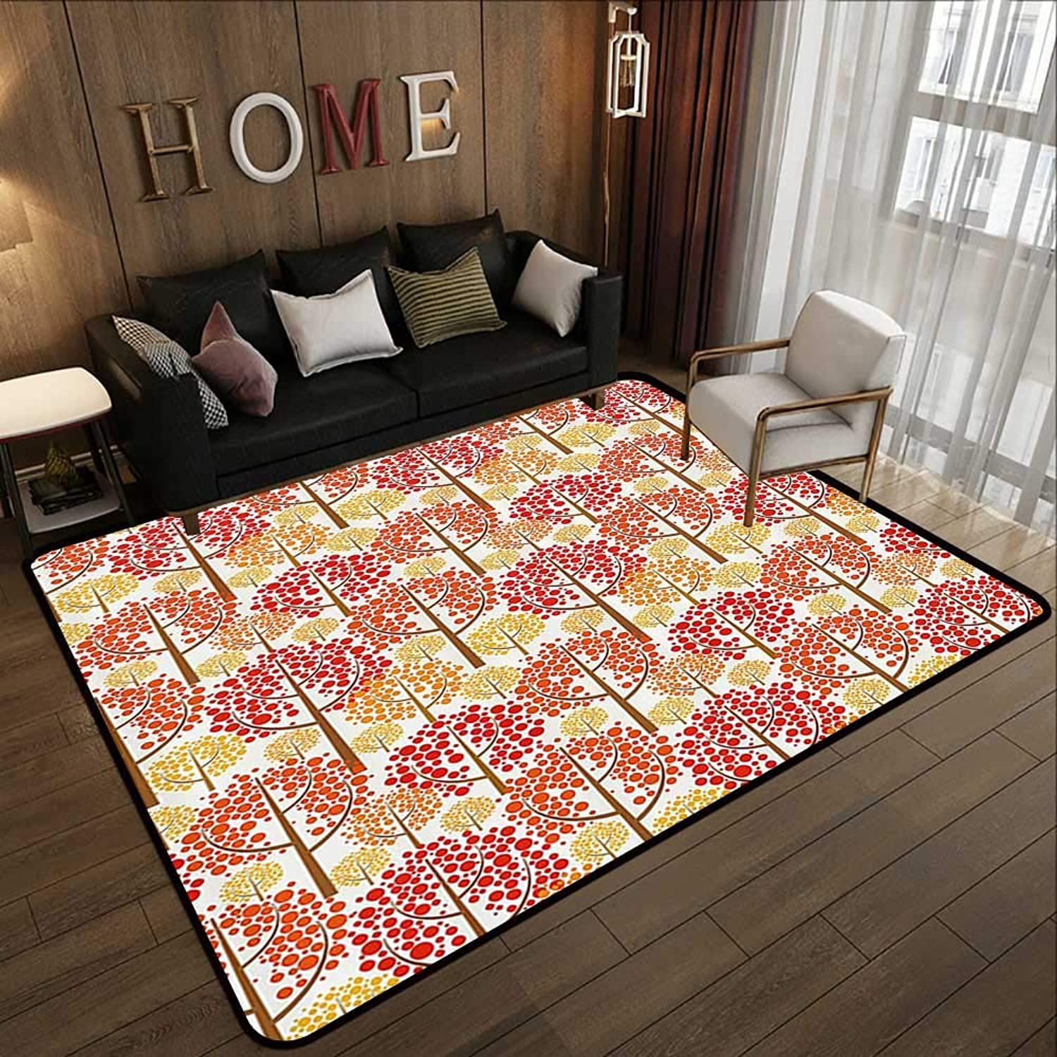 Carpet mat,Abstract,Autumn Forest Inspired Trees with Dot Leaves Fall Elegance Graphic,Red Marigold Light Caramel 47 x 59  Floor Mat Entrance Doormat