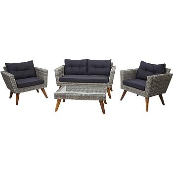 Mendler Poly-Rattan Garnitur HWC-E93, Garten-/Lounge-Set Sofa, Spun Poly halbrundes Rattan Akazie Holz grau Kissen dunkelgrau