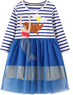 JinBei Vestidos para Niña Otoño Manga Larga Algodón Tulle Rayas Lentejuelas Camisetas Estampadas Baratos Casuales Vestidos...