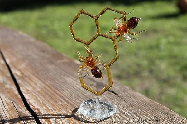Glass Honeycomb And Bee Collectible Figurine Glass Bee Blown Glass Honeybee Honeybee And Honey Comb Honey Bee