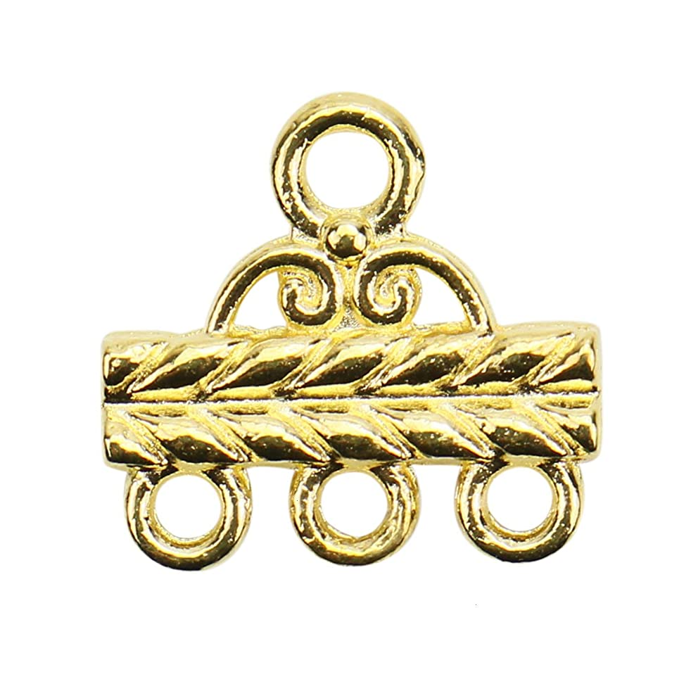 Monrocco 50pcs 3 Strand Slide Lock Clasp for Connector Jewelry Findings Component Necklace Bracelet (3 Hole, Gold)