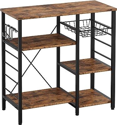 CJMM レンジ台 レンジラック キッチンワゴン レンジボード キッチン収納棚 食器棚 スライド棚 家電や器具収納 省スペース 6個S字ラックを付き 全体耐荷重80kg