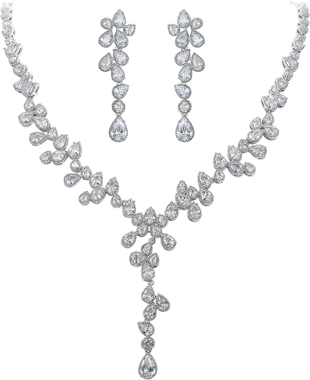 EleQueen Wedding Jewelry Set for Bride, Full Cubic Zirconia Multiple Teardrop Y-necklace Dangle Chandelier Earrings Sets for Women Party Prom