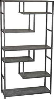 Household Essentials 8090-1 Tall Open Bookcase | Geometric Storage Shelves | Faux Slate Concrete