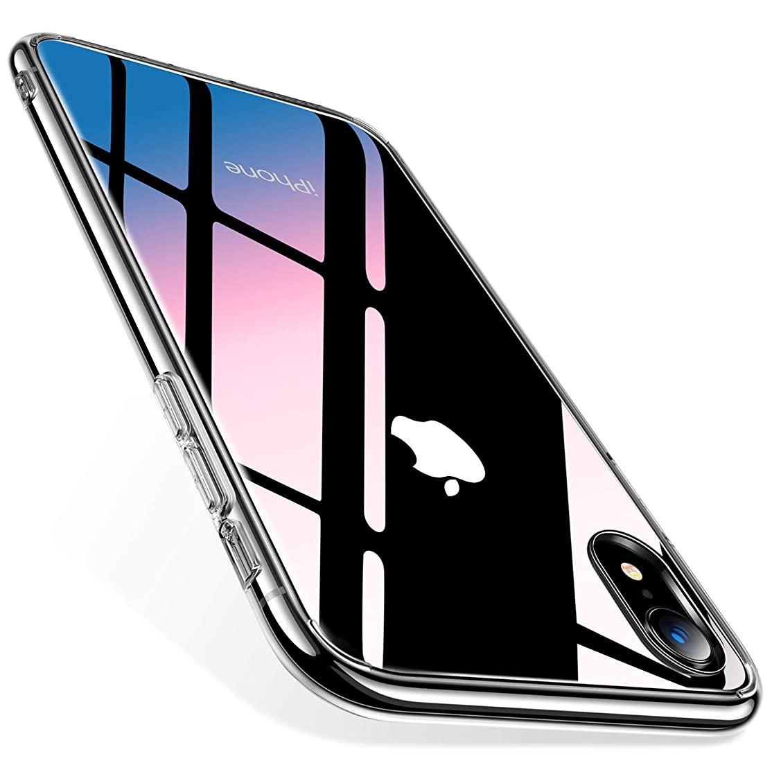 TORRAS iPhone XR ケース ガラス背面9H硬度+TPUバンパー 透明 日本旭硝子製 ストラップホール付き(クリア)