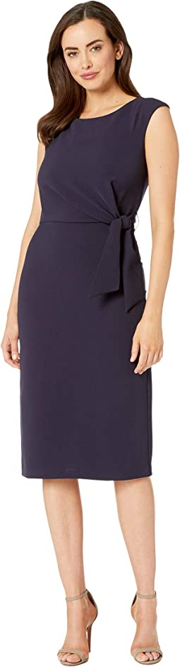 Sleeveless Crepe Sheath w/ Side Tie