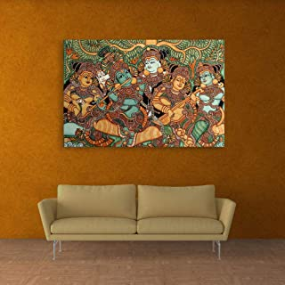 Inephos Unframed Canvas Painting - Kerala Mural Art Wall Painting for Living Room, Bedroom, Office, Hotels, Drawing Room (36 inches X 24 inches)